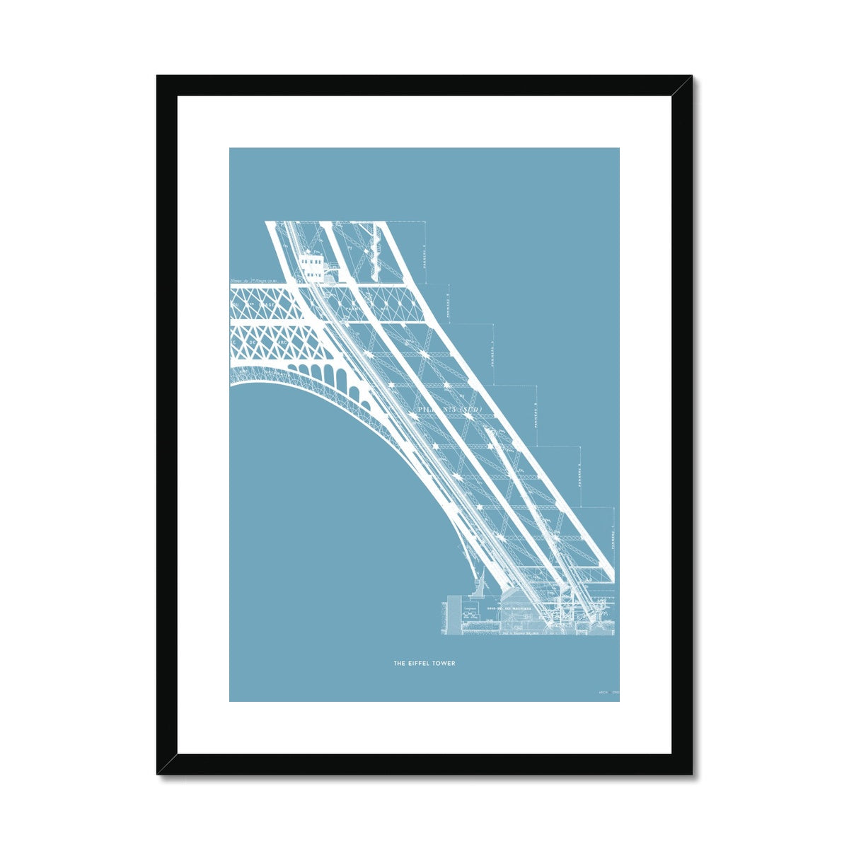 The Eiffel Tower - Base Elevator Section - Blue -  Framed & Mounted Print