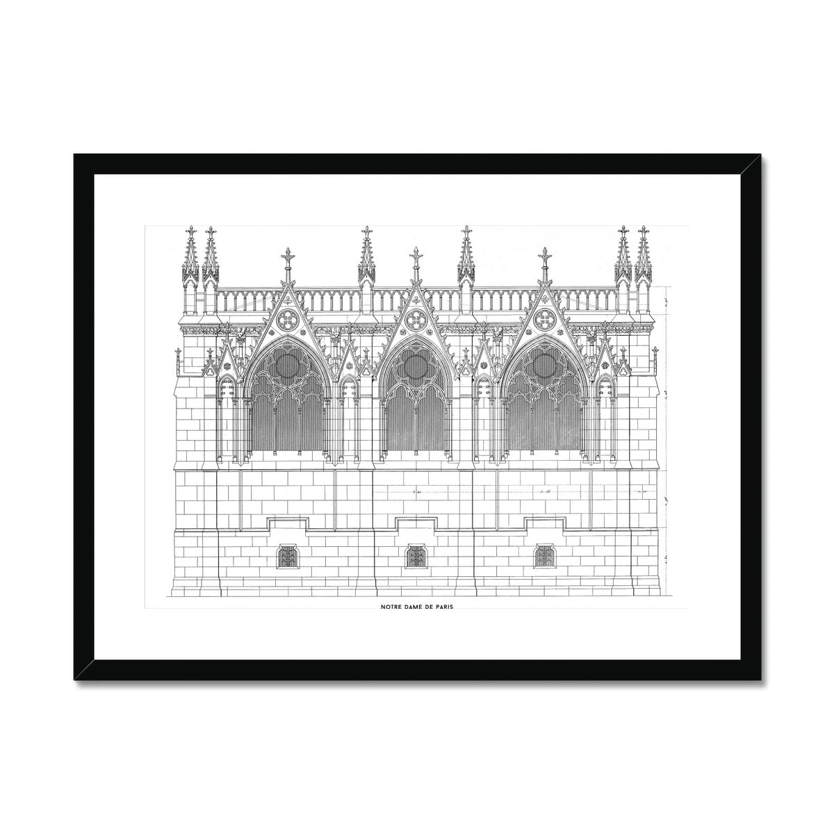 Notre Dame de Paris - Side Elevation - White -  Framed & Mounted Print