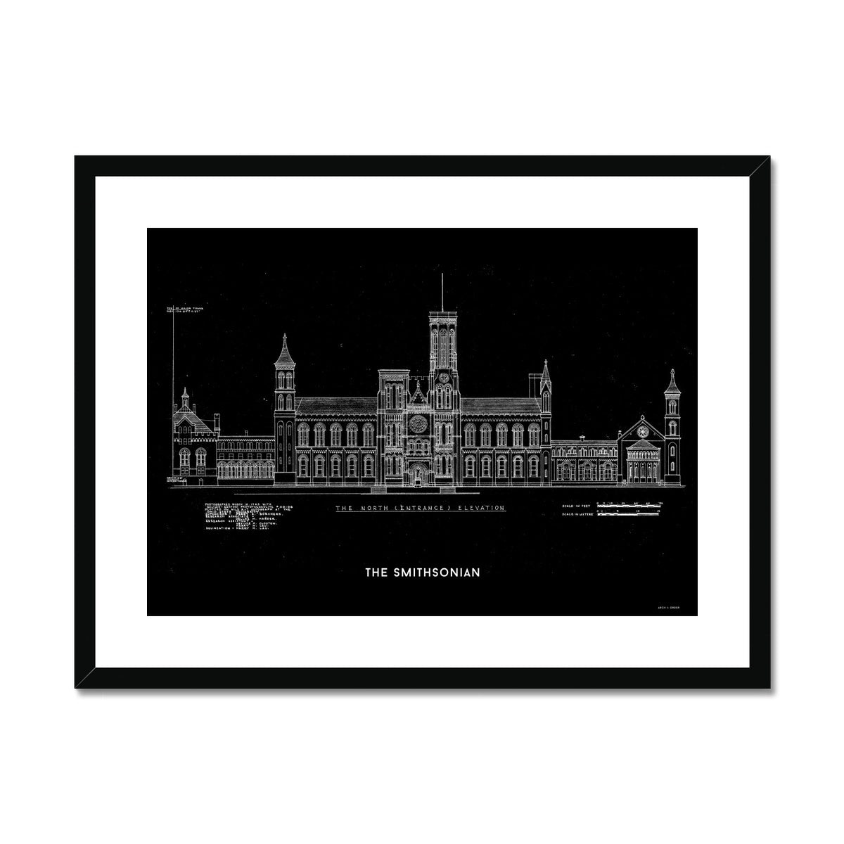 The Smithsonian North Elevation - Black -  Framed & Mounted Print