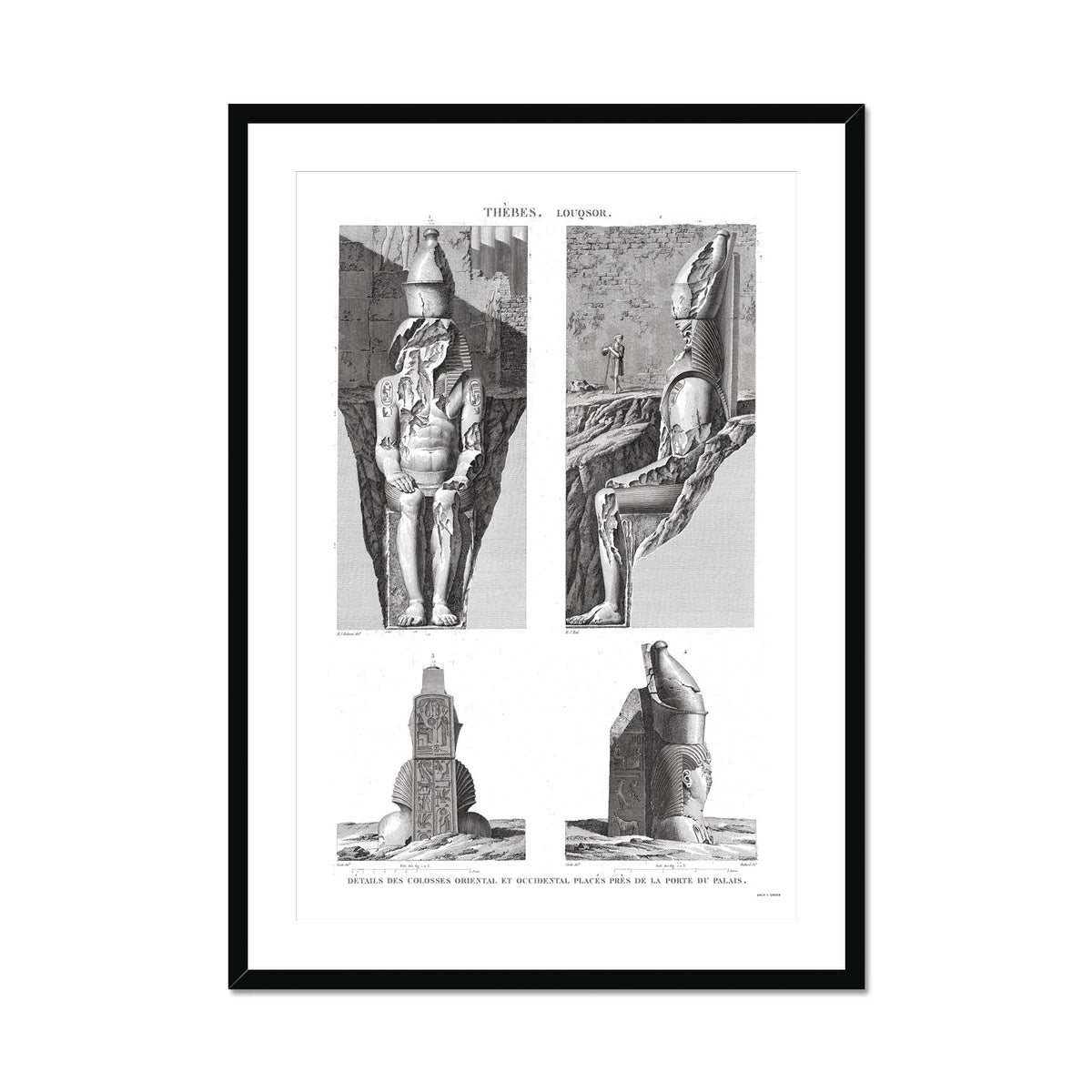 Colossi Near the Palace Gate - Luxor - Thebes Egypt -  Framed & Mounted Print