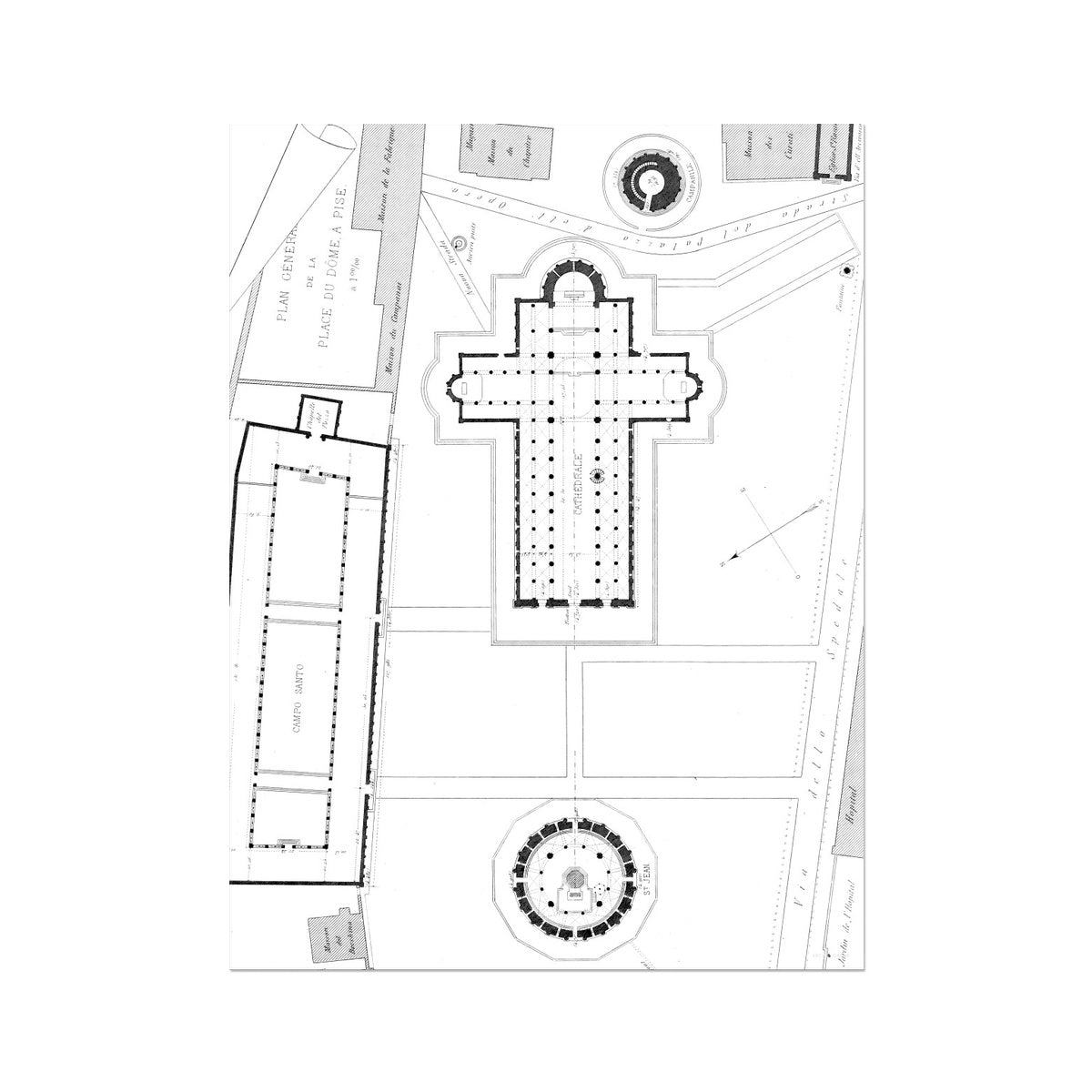 Pisa - Site Plan - White -  Etching Paper Print