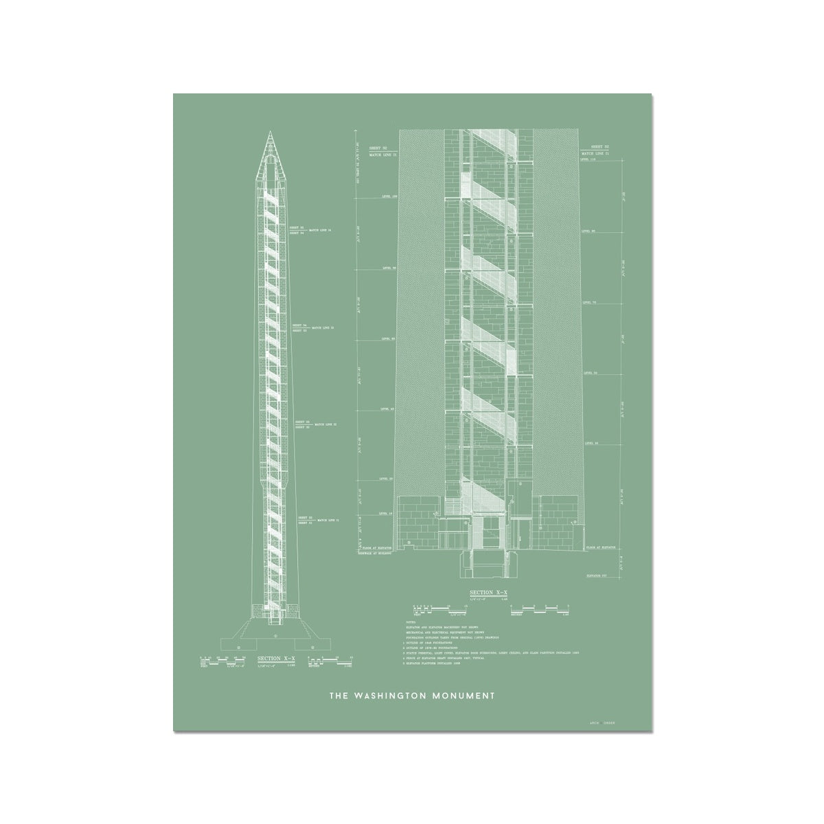 The Washington Monument Cross Section - Green -  Etching Paper Print