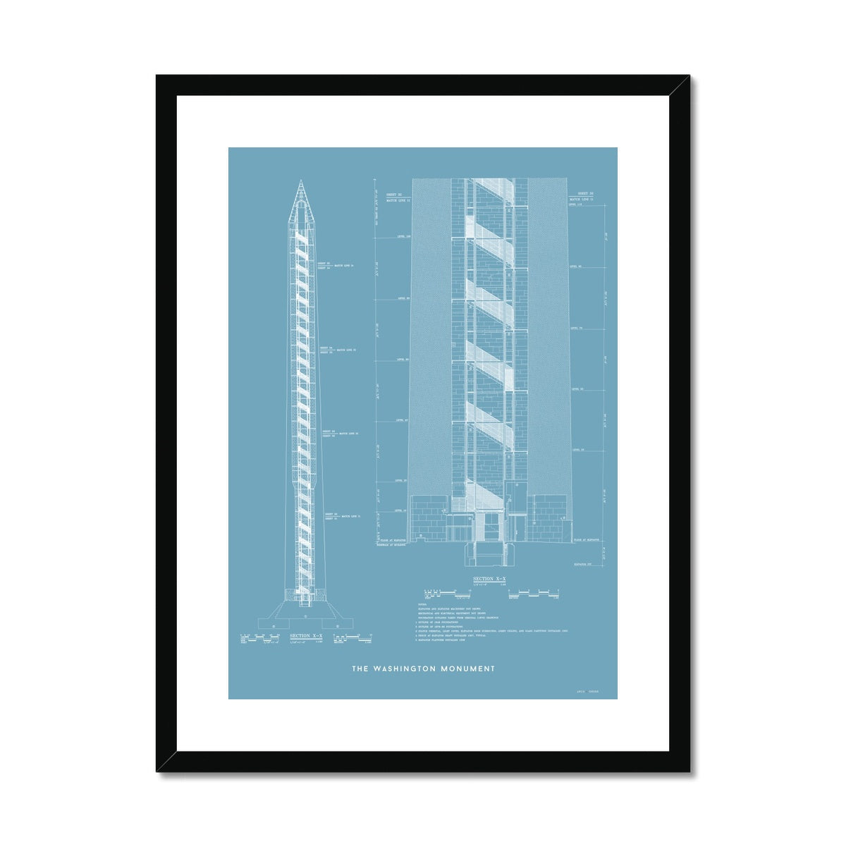 The Washington Monument Cross Section - Blue -  Framed & Mounted Print