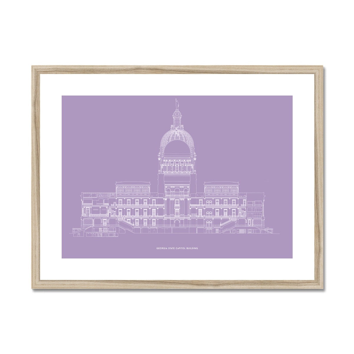 The Georgia State Capitol Building - West Elevation Cross Section - Lavender - Framed Mounted Print