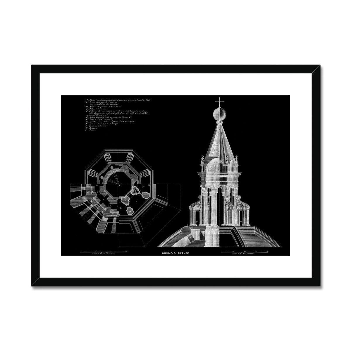 Duomo di Firenze - Lantern Detail - Black -  Framed & Mounted Print