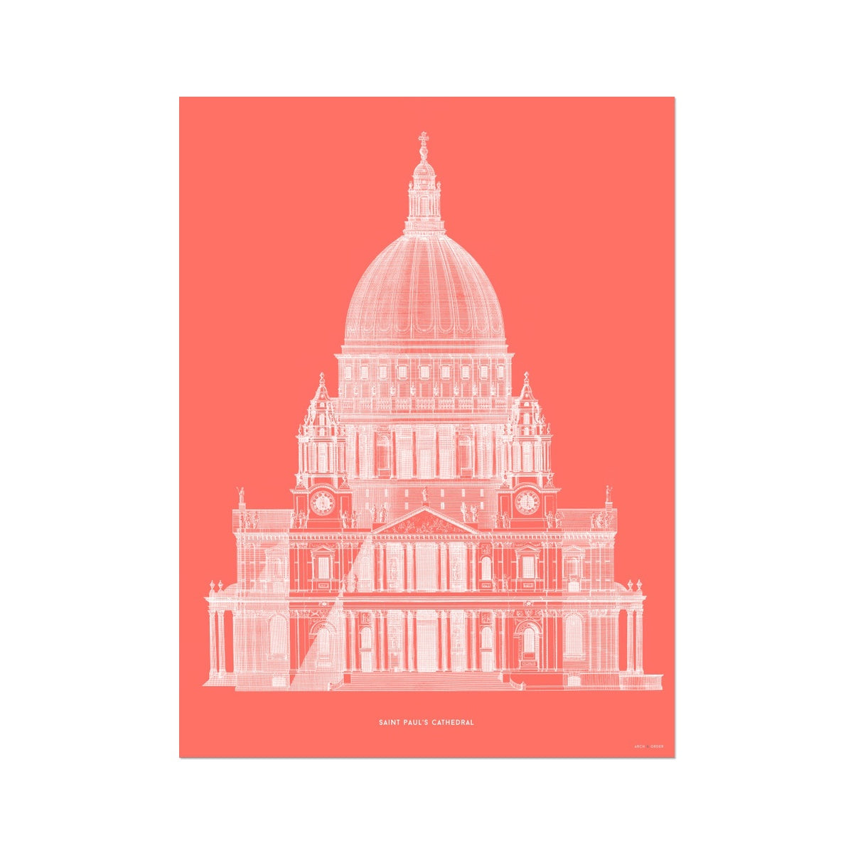 Saint Paul's Cathedral - Primary Elevation - Red -  Etching Paper Print