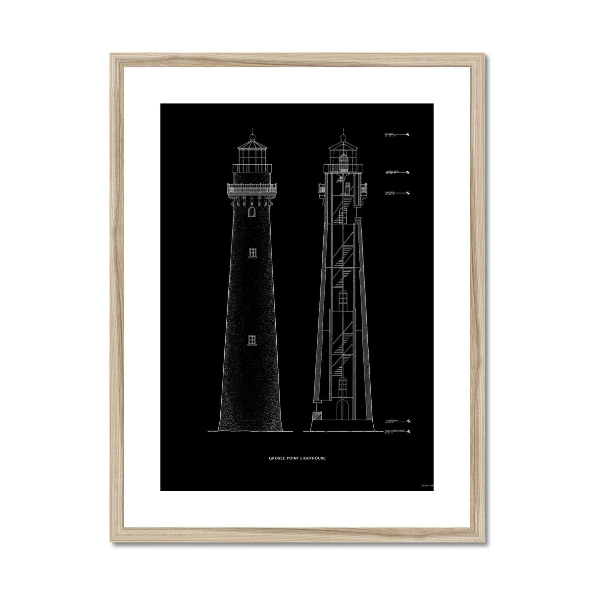 Grosse Point Lighthouse - East Elevation and Cross Section - Black -  Framed & Mounted Print