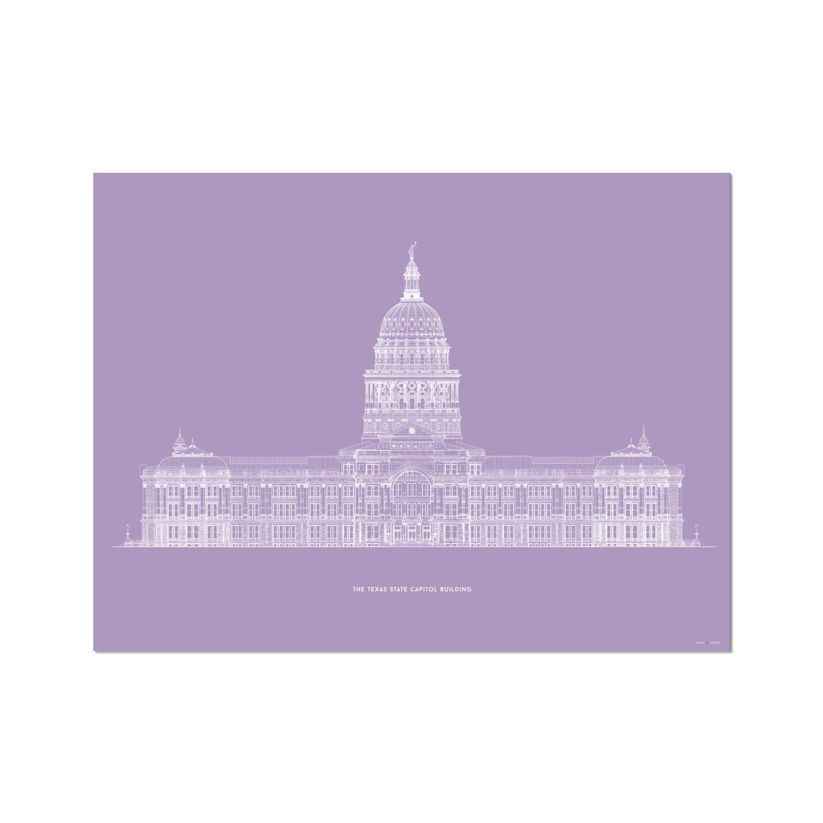 The Texas State Capitol Building - South Elevation - Lavender -  Etching Paper Print