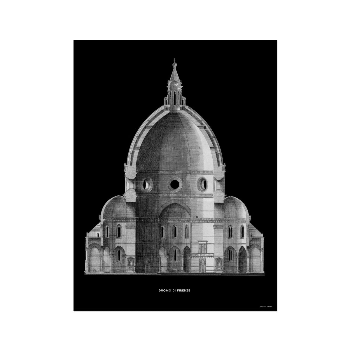 Duomo di Firenze - Primary Elevation Cross Section - Black -  Etching Paper Print