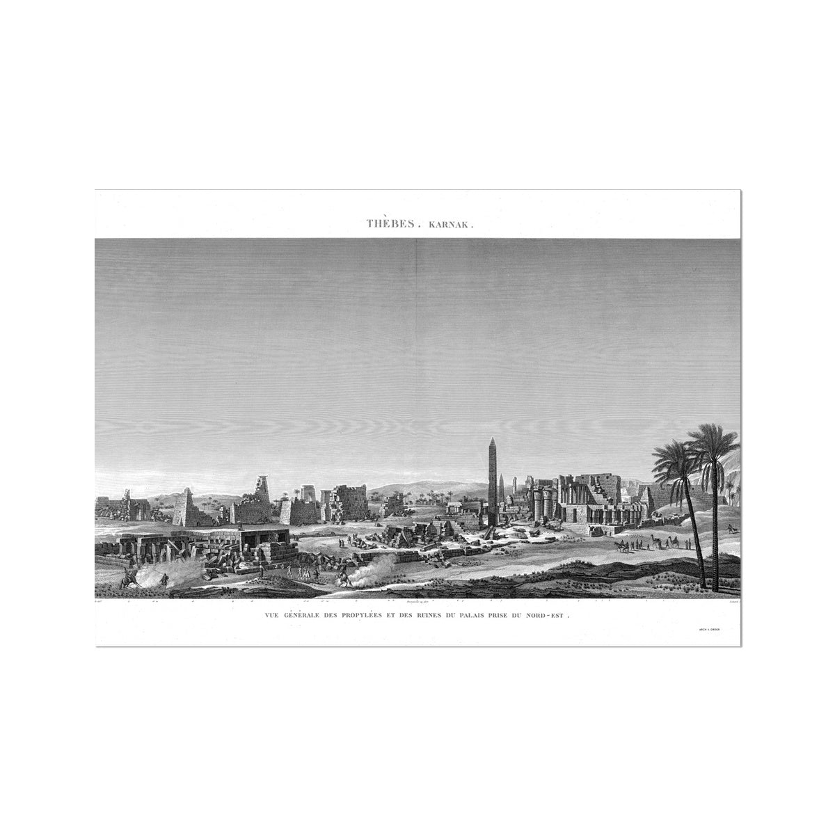 General View of the Palace Ruins - Karnak - Thebes Egypt -  Etching Paper Print