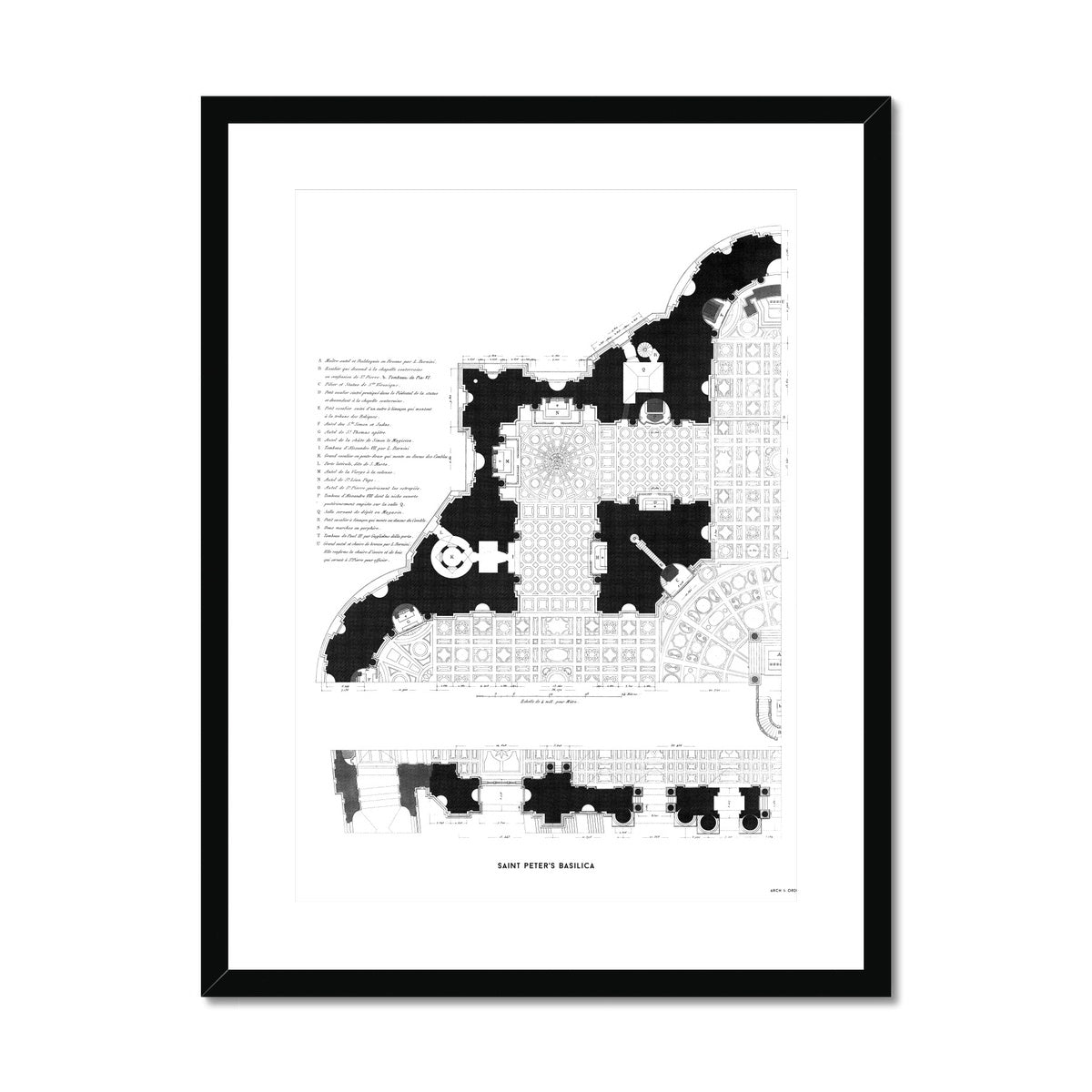 Saint Peter's Basilica - Floor Plan Detail - White -  Framed & Mounted Print