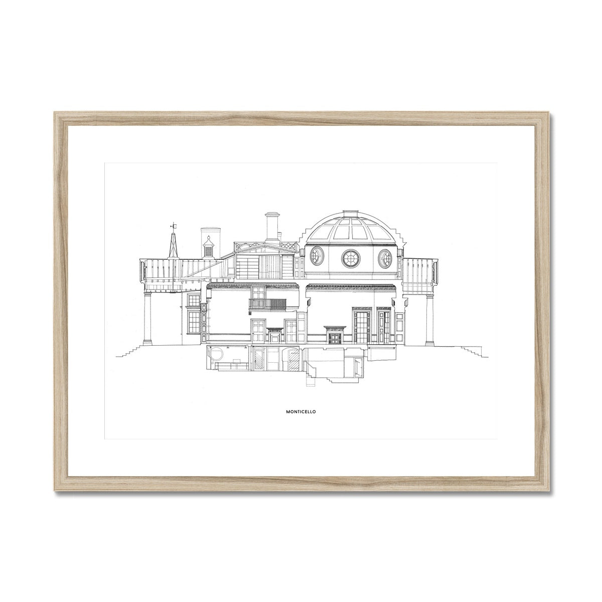 Monticello - North Elevation Cross Section - White -  Framed & Mounted Print