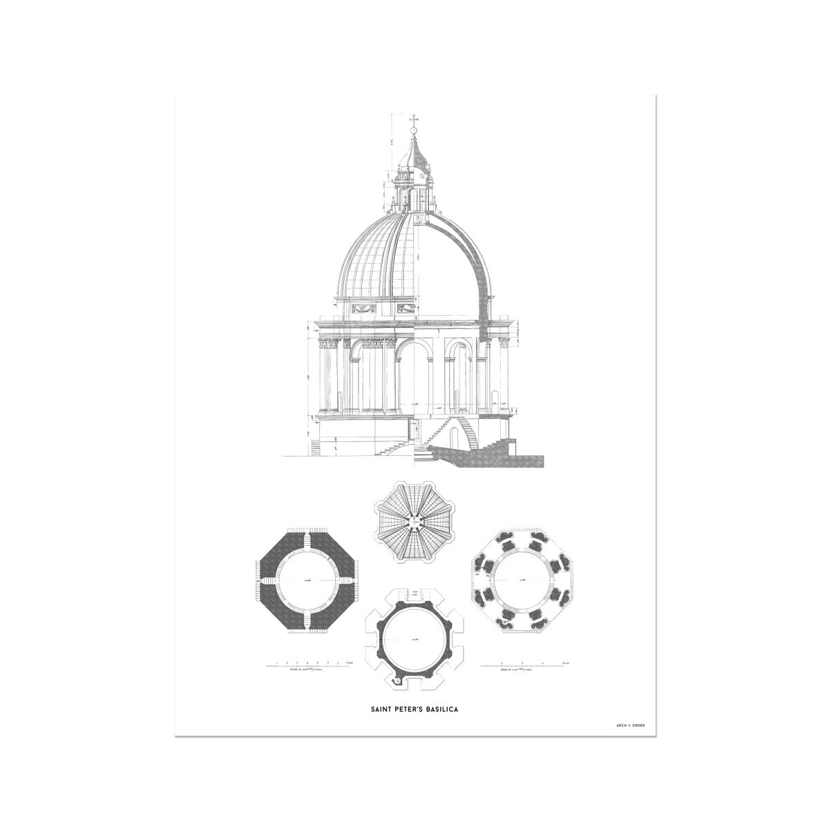 Saint Peter's Basilica - Dome Detail - White -  Etching Paper Print