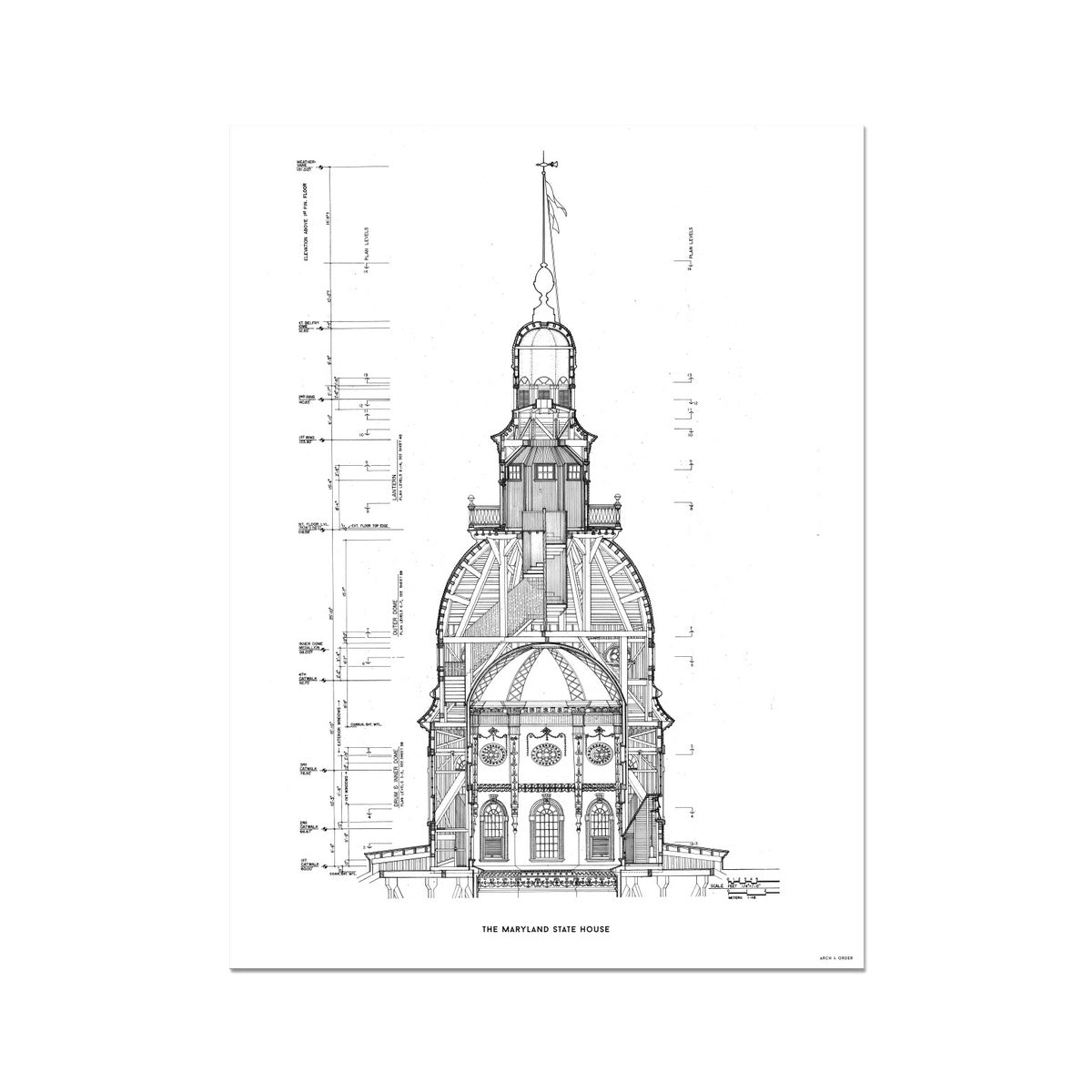 The Maryland State House - Dome West Elevation Cross Section - White - German Etching Print