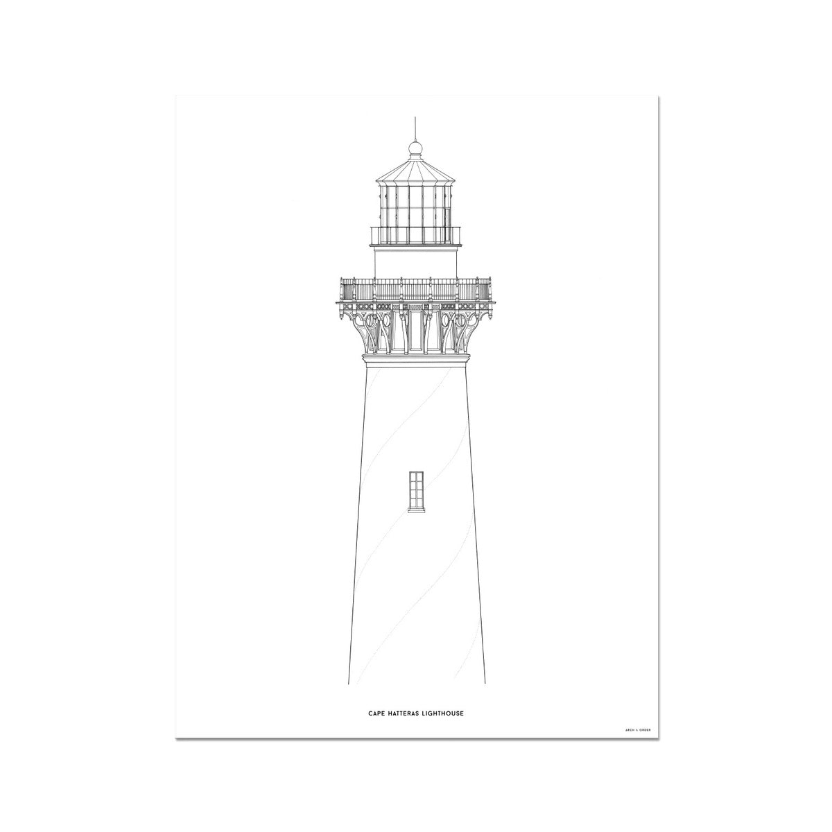 Cape Hatteras Lighthouse - North Elevation Detail - White -  Etching Paper Print