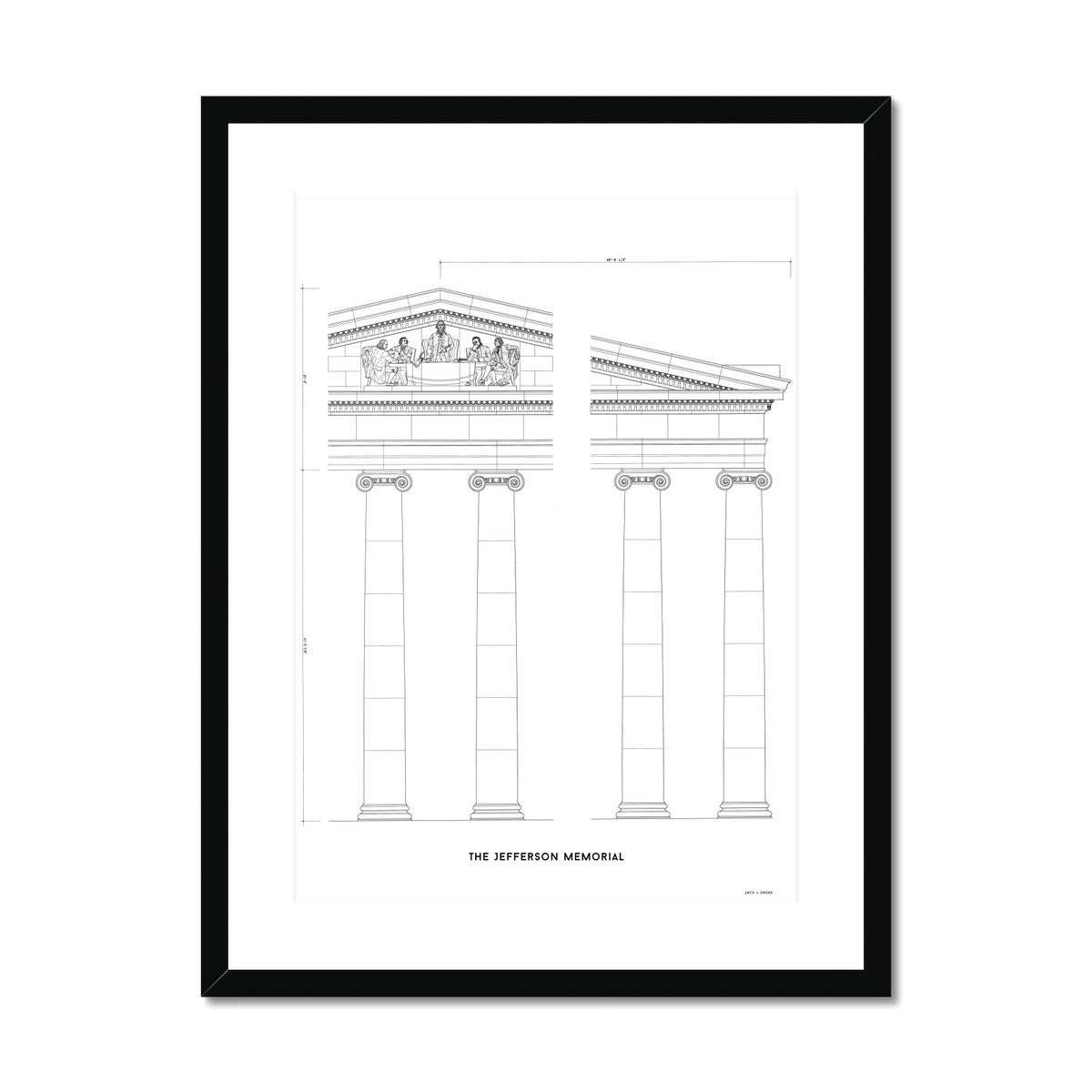 The Jefferson Memorial Portico Detail - White -  Framed & Mounted Print