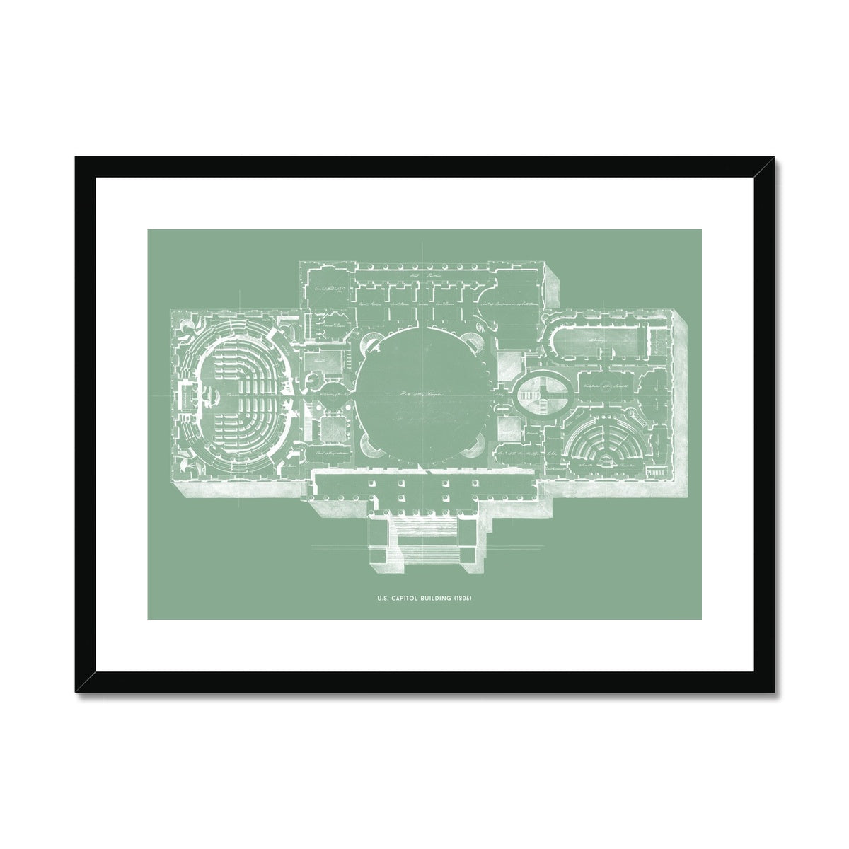 The U.S. Capitol Building - 1806 Floorplan - Green -  Framed & Mounted Print