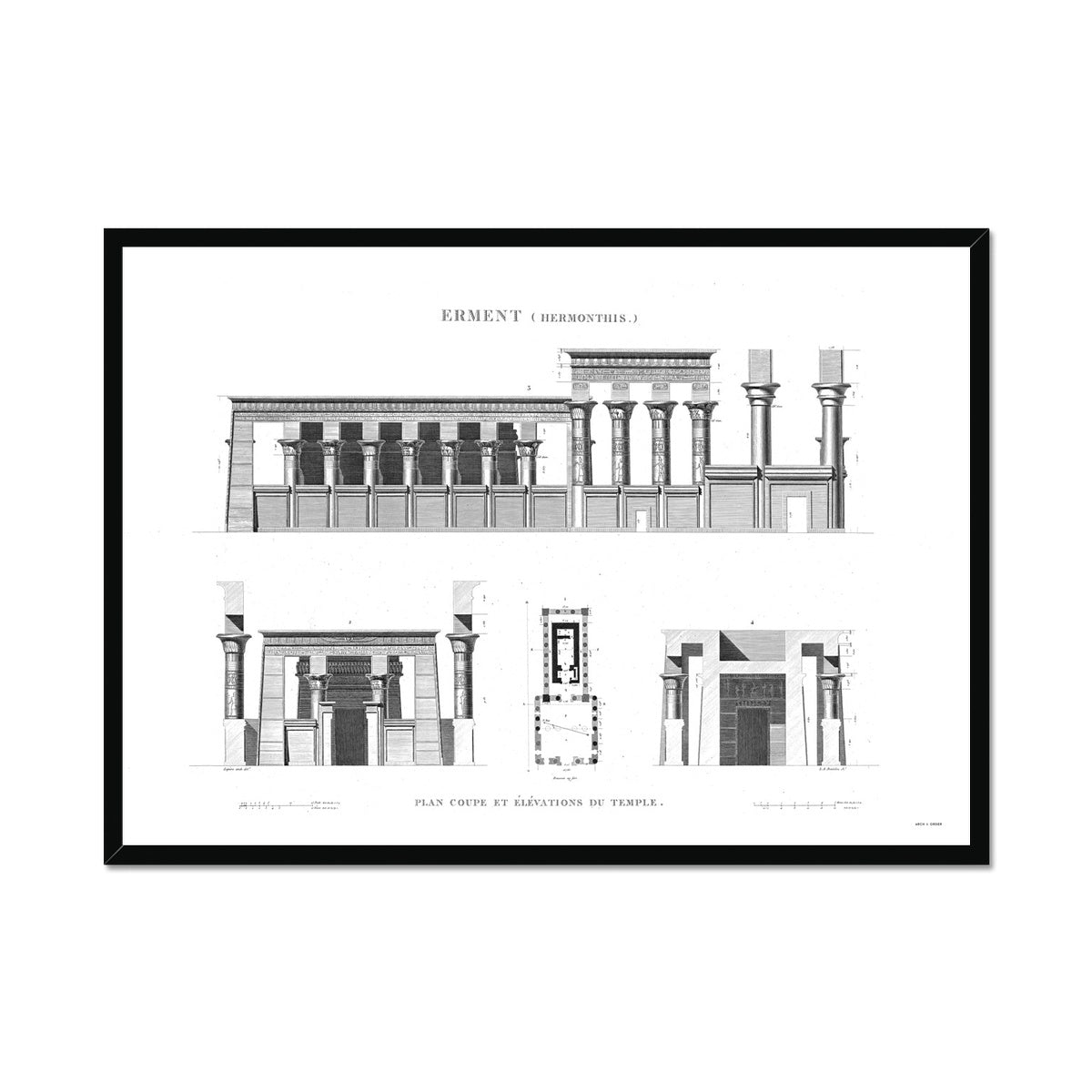 The Temple of Hermonthis Elevation - Armant Egypt -  Framed Print