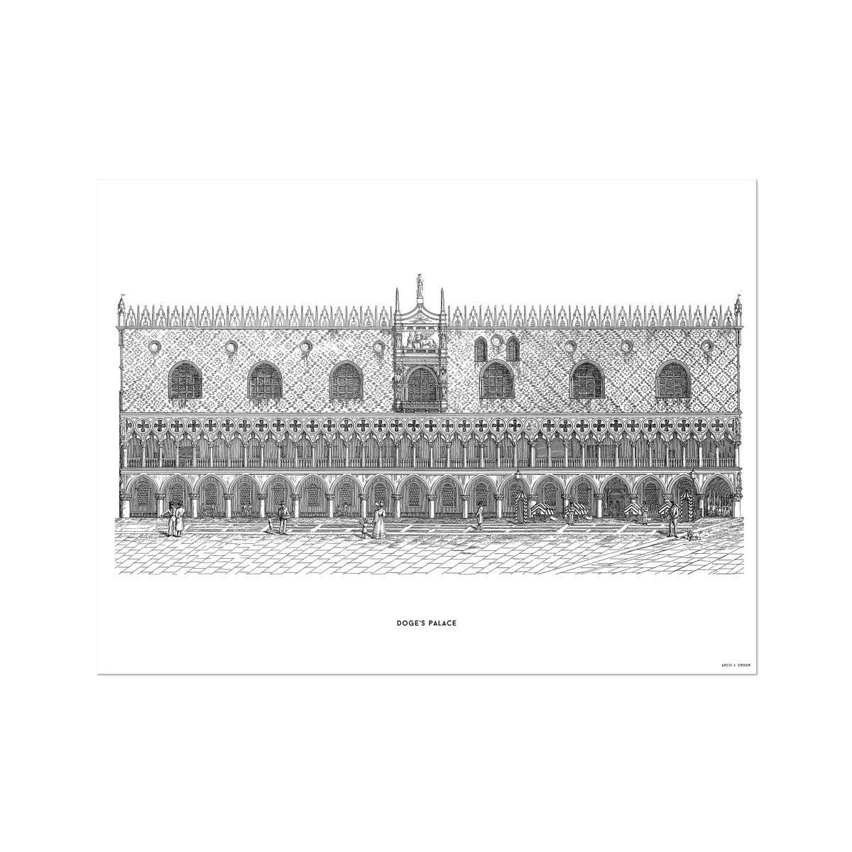 Doge's Palace - Primary Elevation - White -  Etching Paper Print