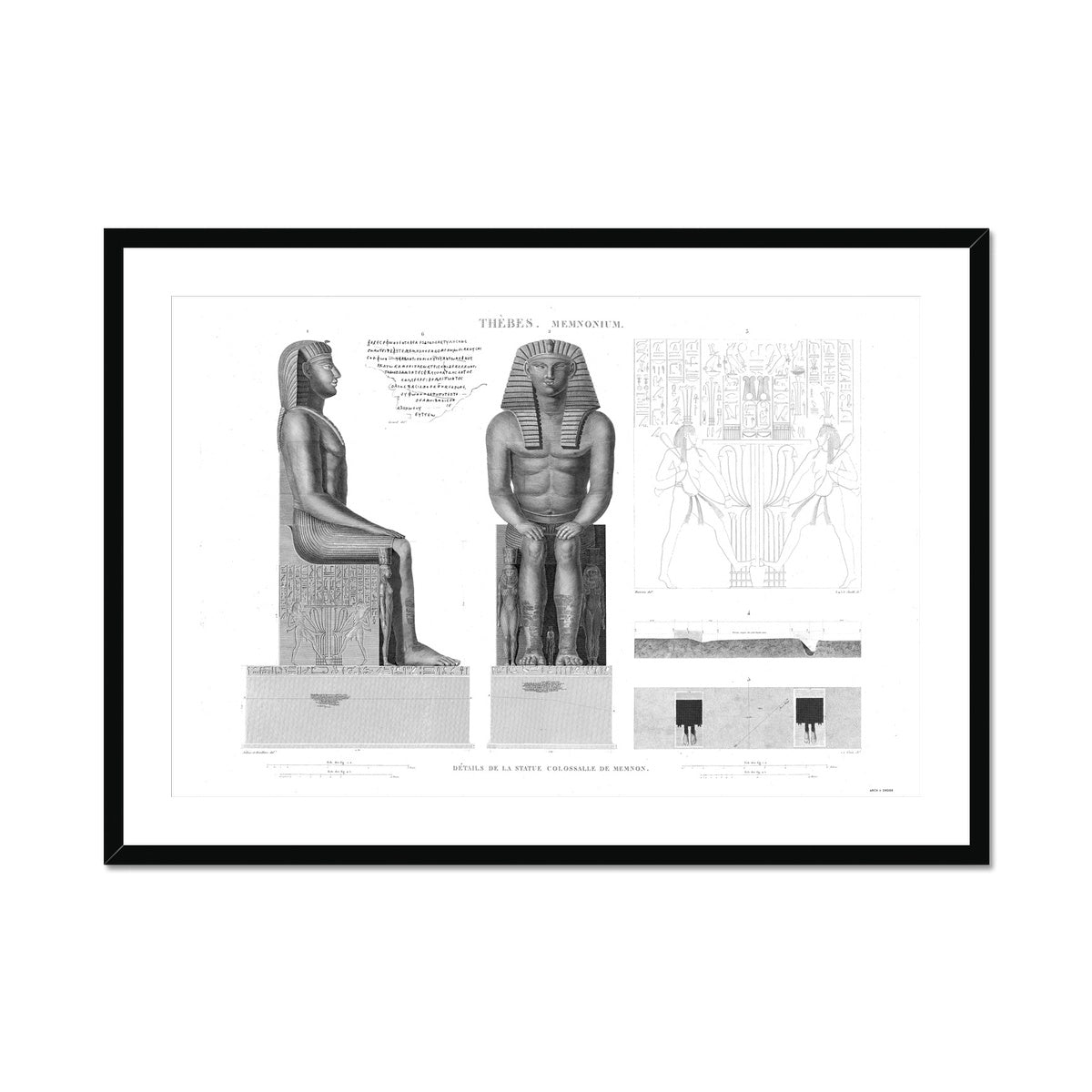 Colossi of Memnon Detail - Memnonium - Thebes Egypt -  Framed & Mounted Print