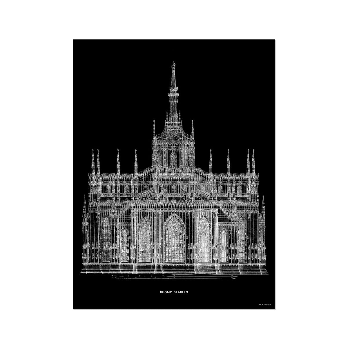 The Milan Cathedral - Primary Elevation - Black -  Etching Paper Print