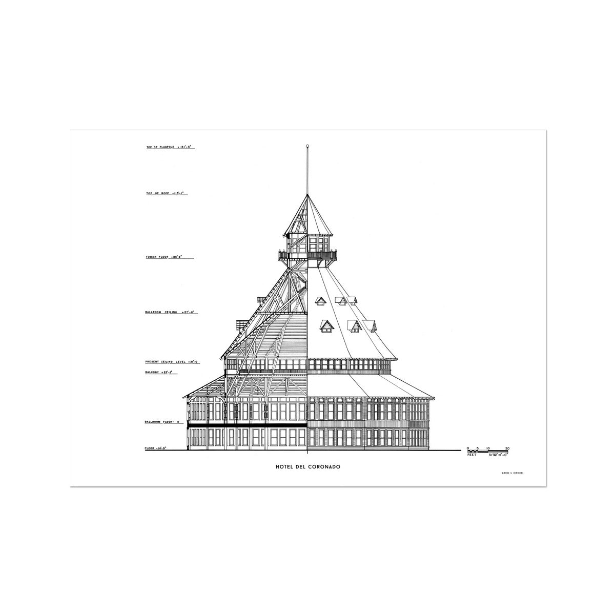 Hotel Del Coronado - Ballroom Cross Section - White -  Etching Paper Print