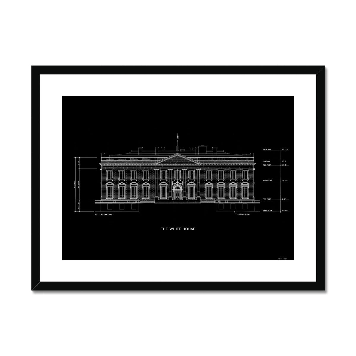 The White House North Elevation - Black -  Framed & Mounted Print