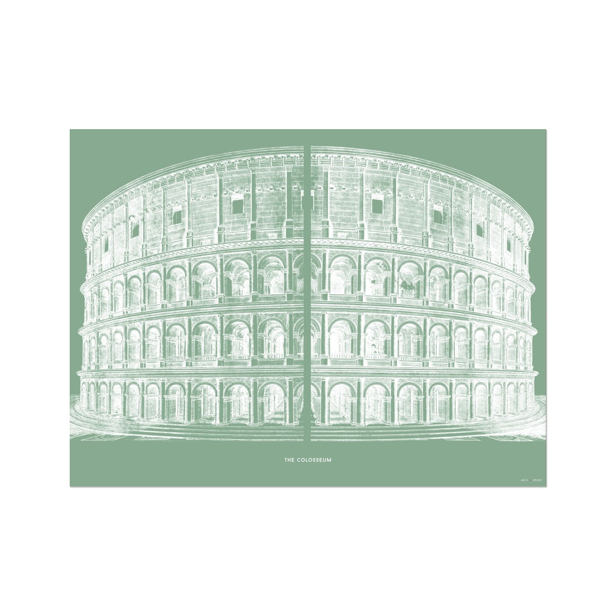 The Colosseum - Primary Elevation - Green -  Etching Paper Print