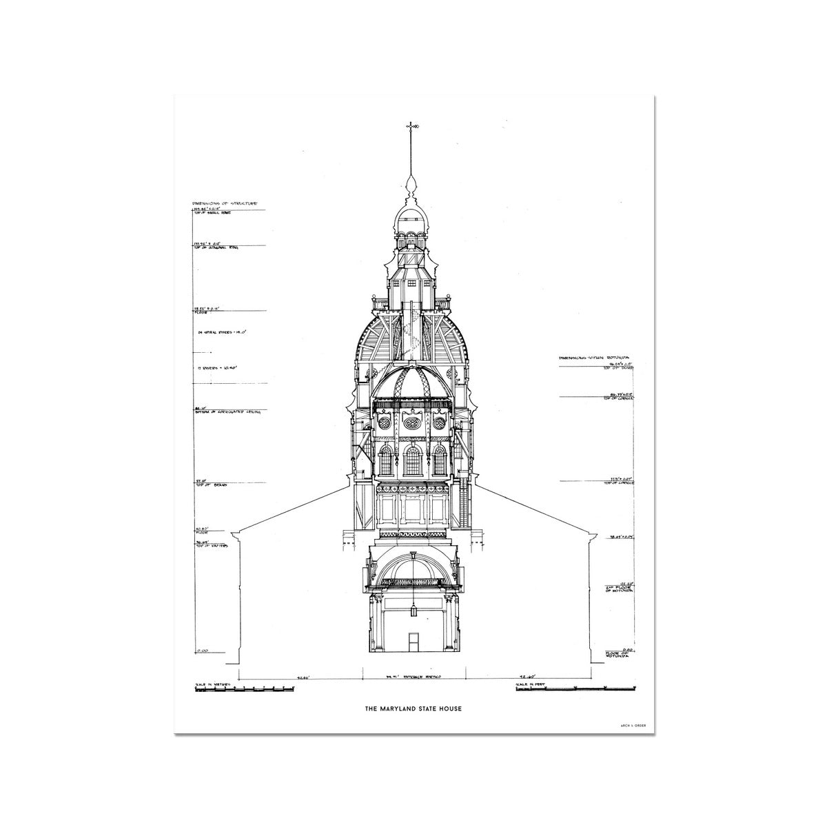 The Maryland State House - Northwest Elevation Cross Section - White - German Etching Print