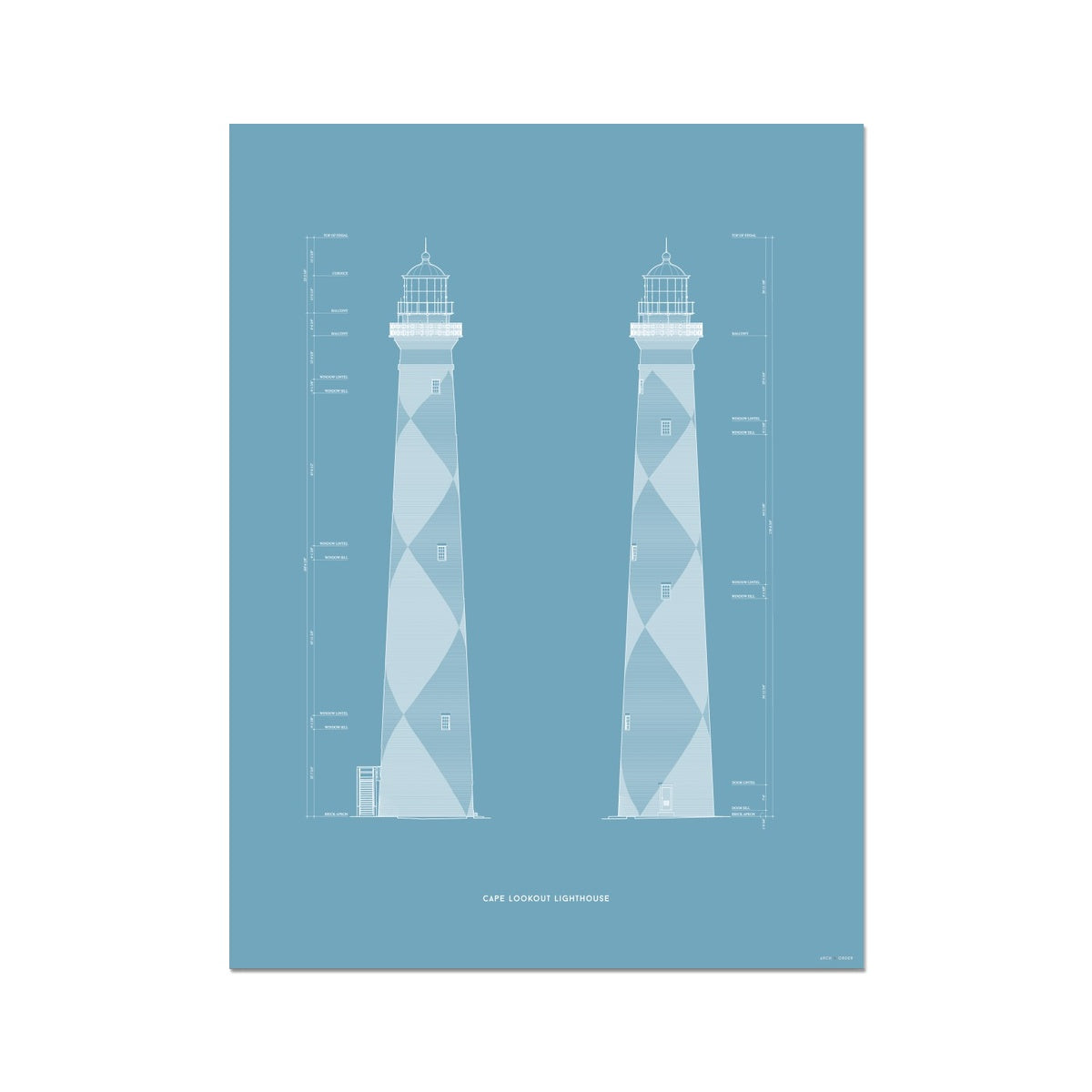 Cape Lookout Lighthouse - West and South Elevations - Blue -  Etching Paper Print
