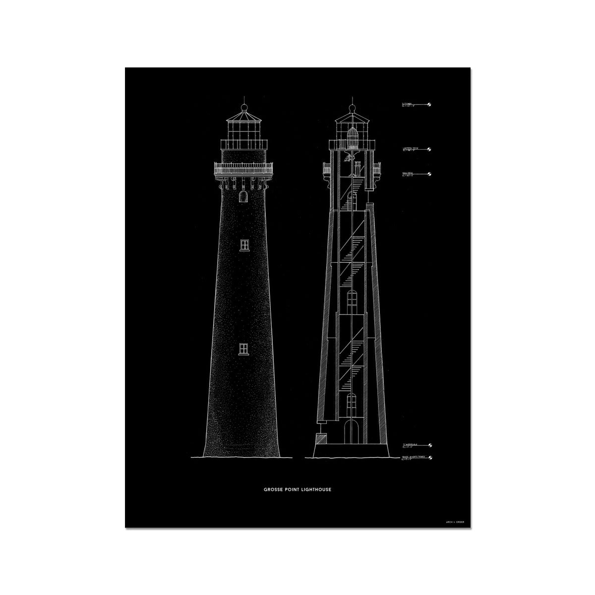 Grosse Point Lighthouse - East Elevation and Cross Section - Black - German Etching Print
