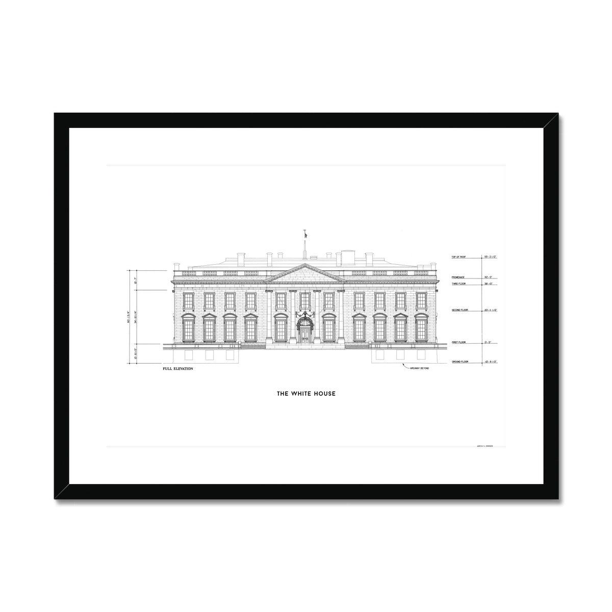 The White House North Elevation - White -  Framed & Mounted Print
