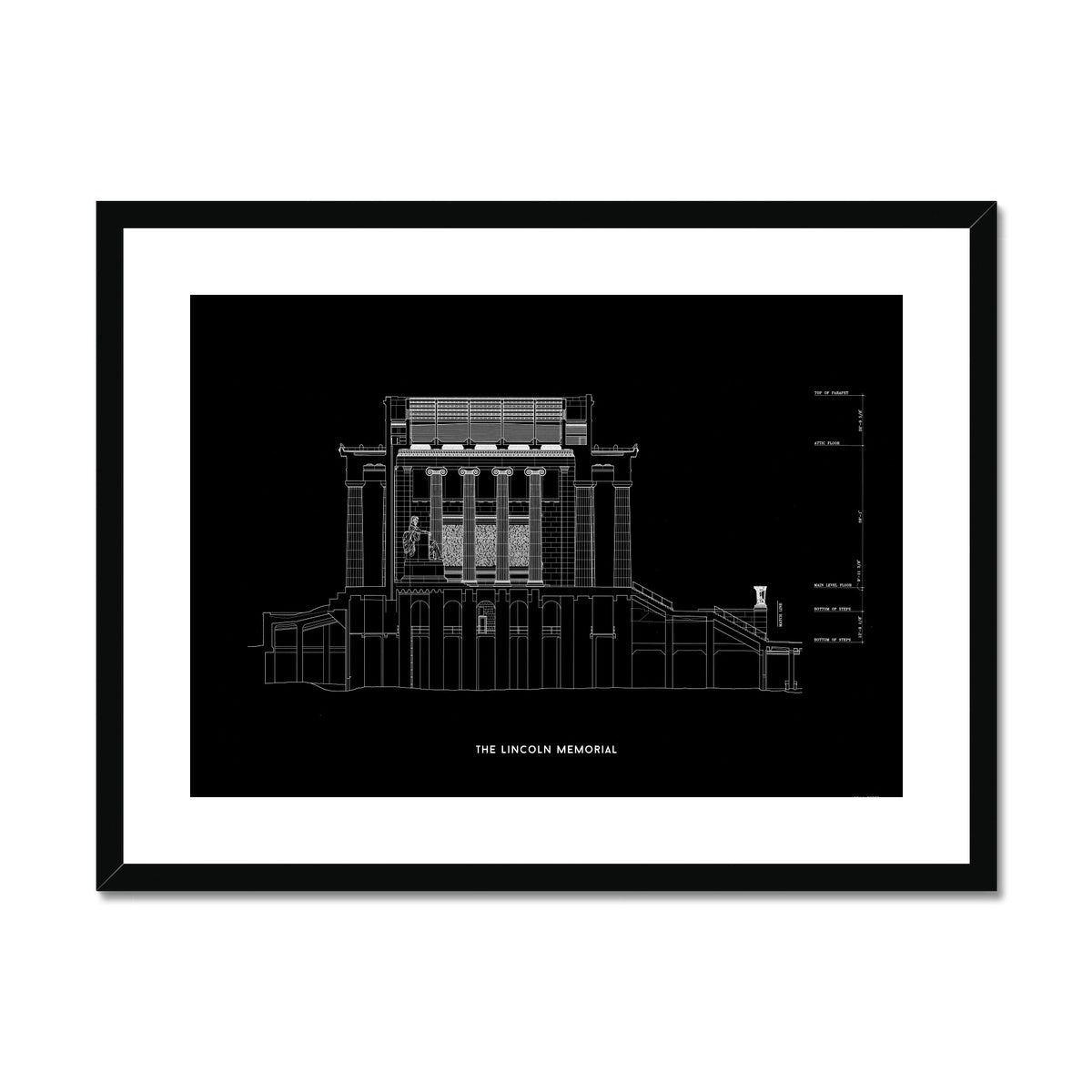 The Lincoln Memorial North Elevation Cross Section - Black -  Framed & Mounted Print
