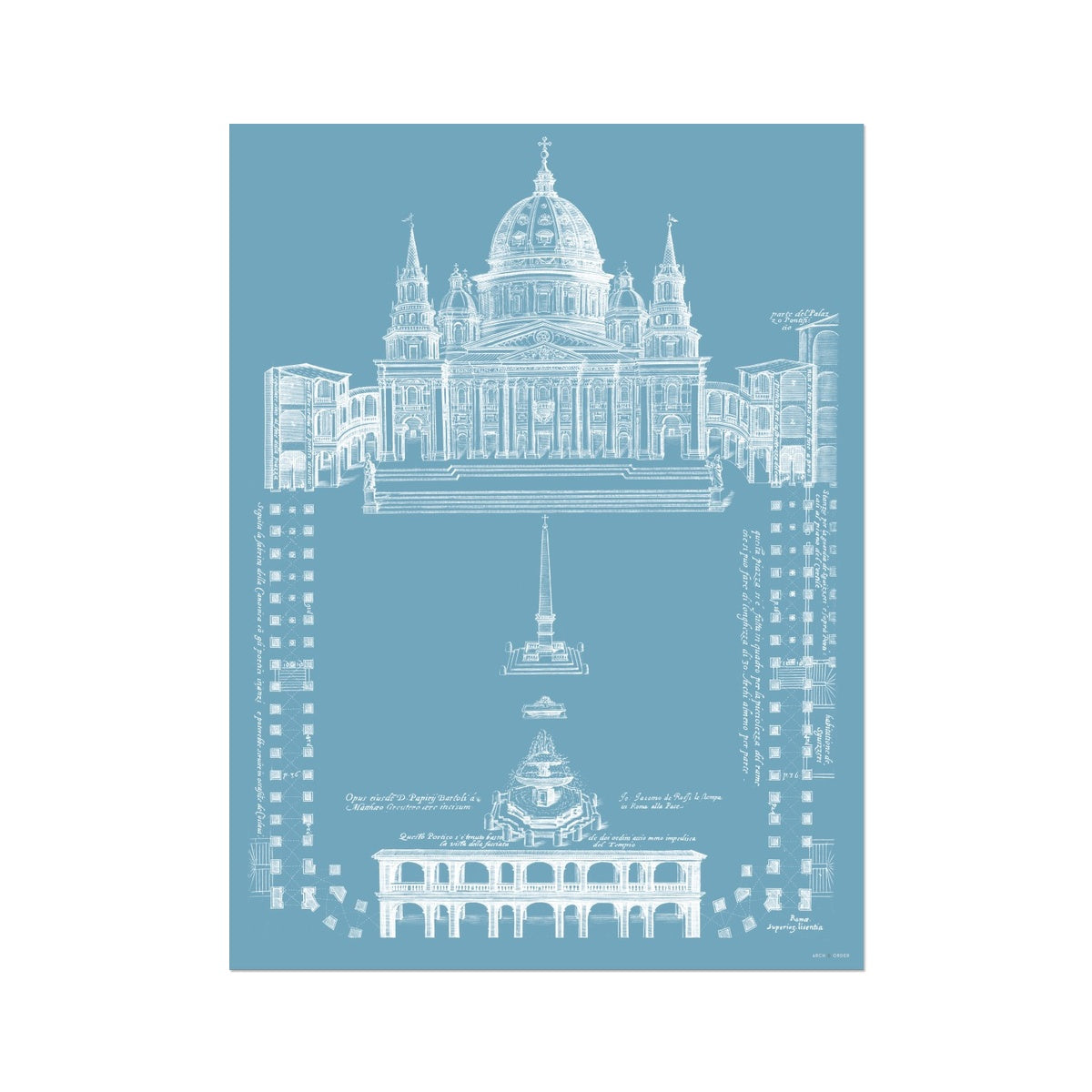 Saint Peter's Basilica - Site Plan - Blue -  Etching Paper Print