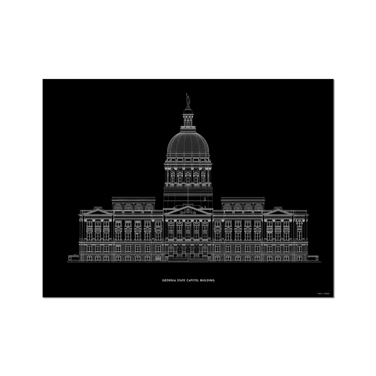 The Georgia State Capitol Building - West Elevation - Black -  Etching Paper Print
