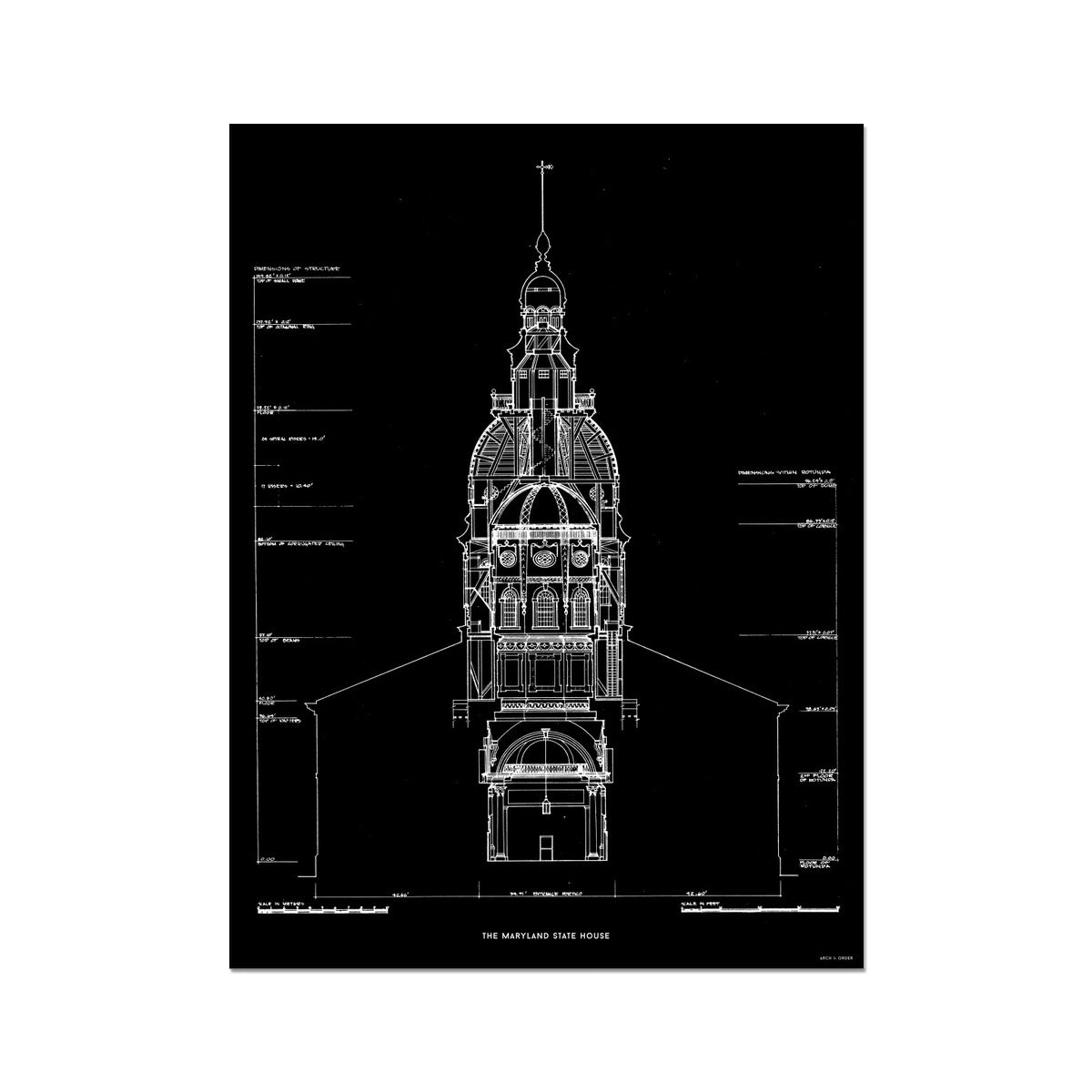 The Maryland State House - Northwest Elevation Cross Section - Black - German Etching Print