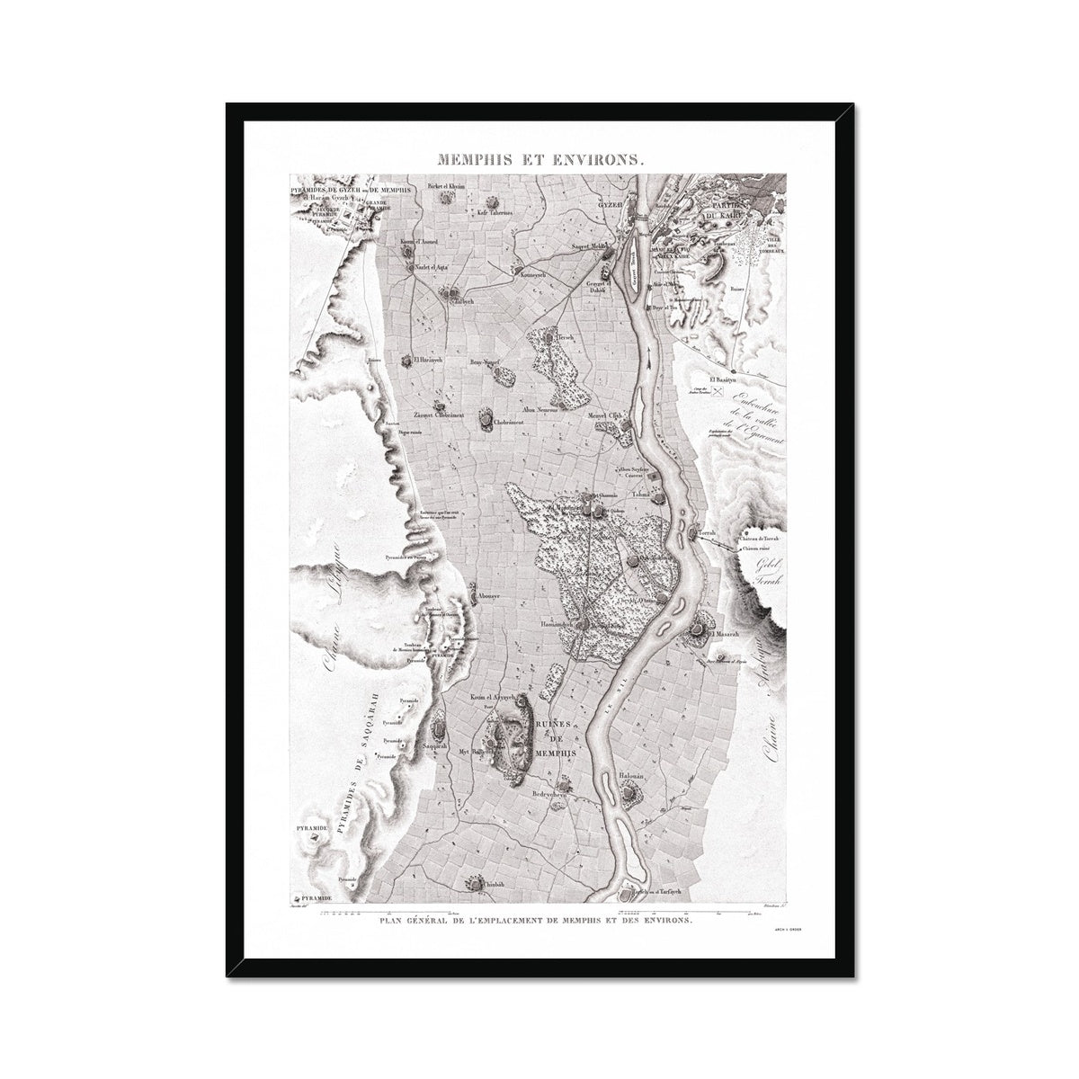 Map of the Ruins - Memphis Egypt -  Framed Print