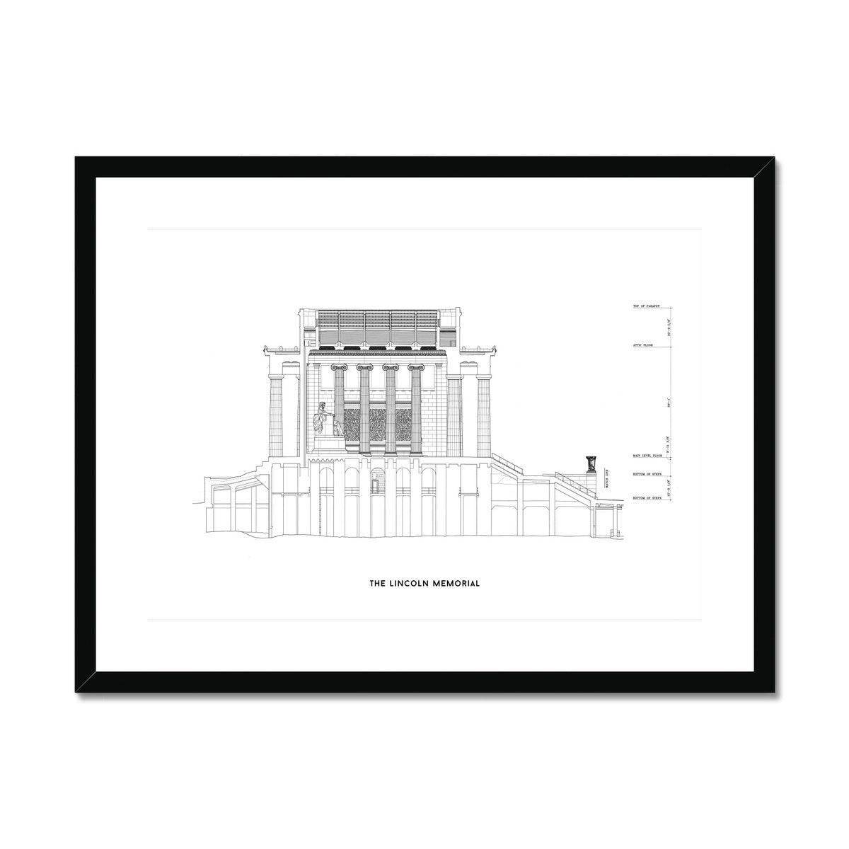 The Lincoln Memorial North Elevation Cross Section - White -  Framed & Mounted Print