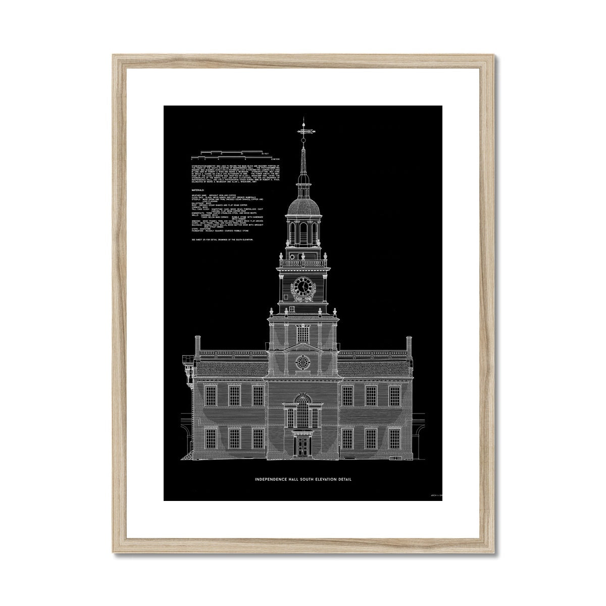 Independence Hall - South Elevation Detail - Black -  Framed & Mounted Print