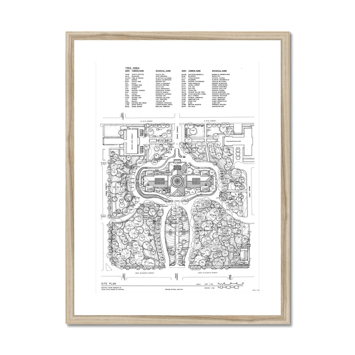 The Texas State Capitol Building - Site and Landscaping Plan - White -  Framed & Mounted Print