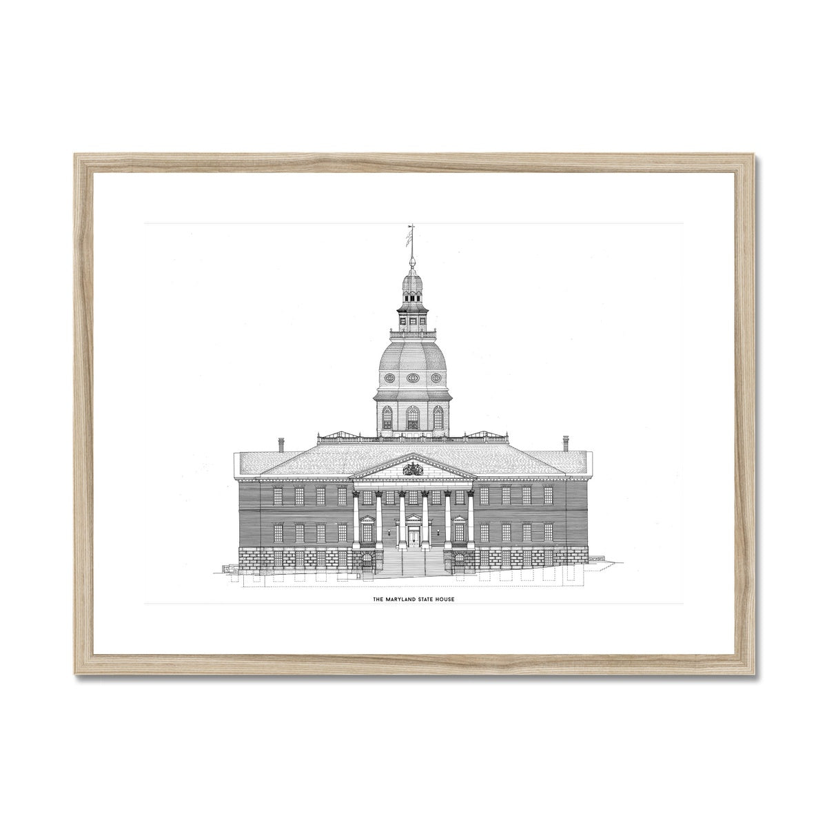 The Maryland State House - Northwest Elevation - White -  Framed & Mounted Print