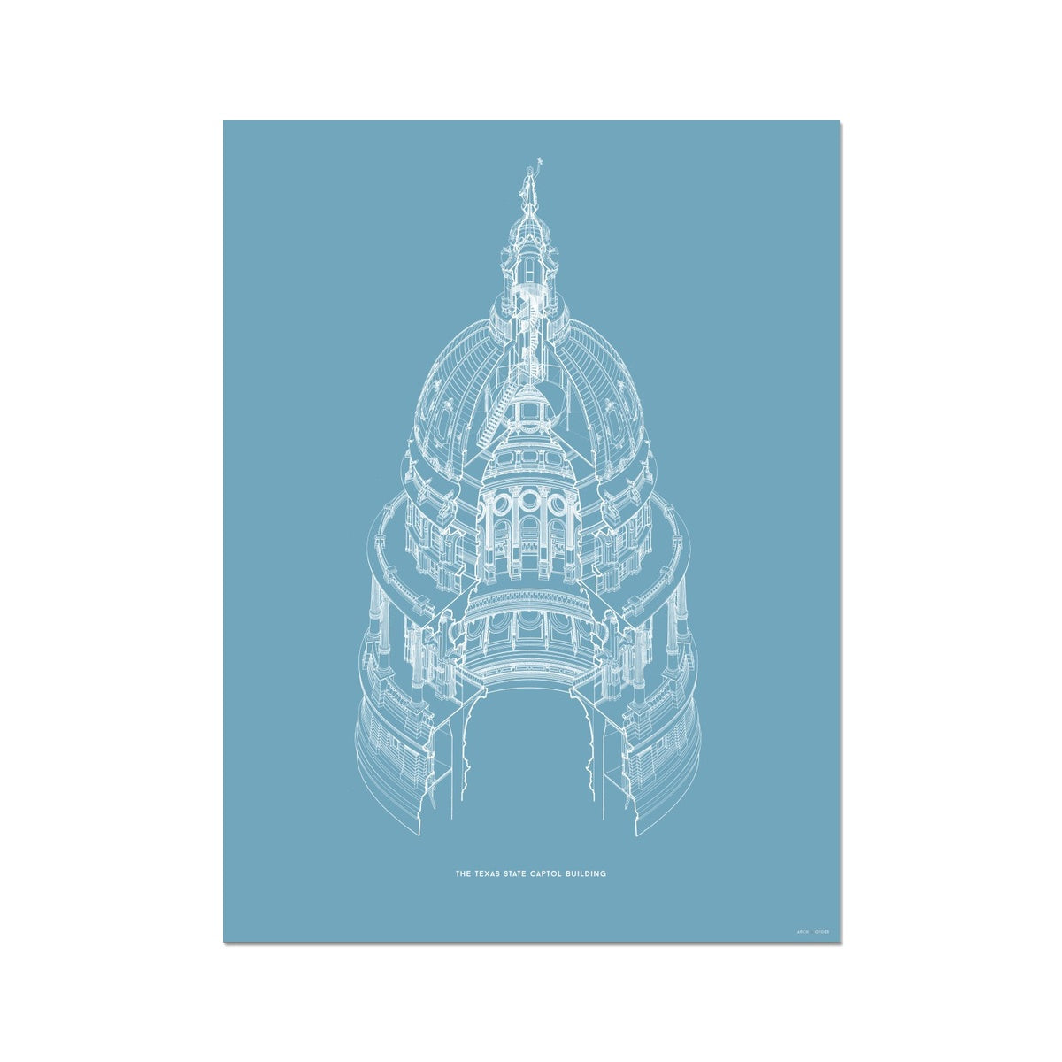 The Texas State Capitol Building - Dome Axonometric Cross Section - Blue - German Etching Print