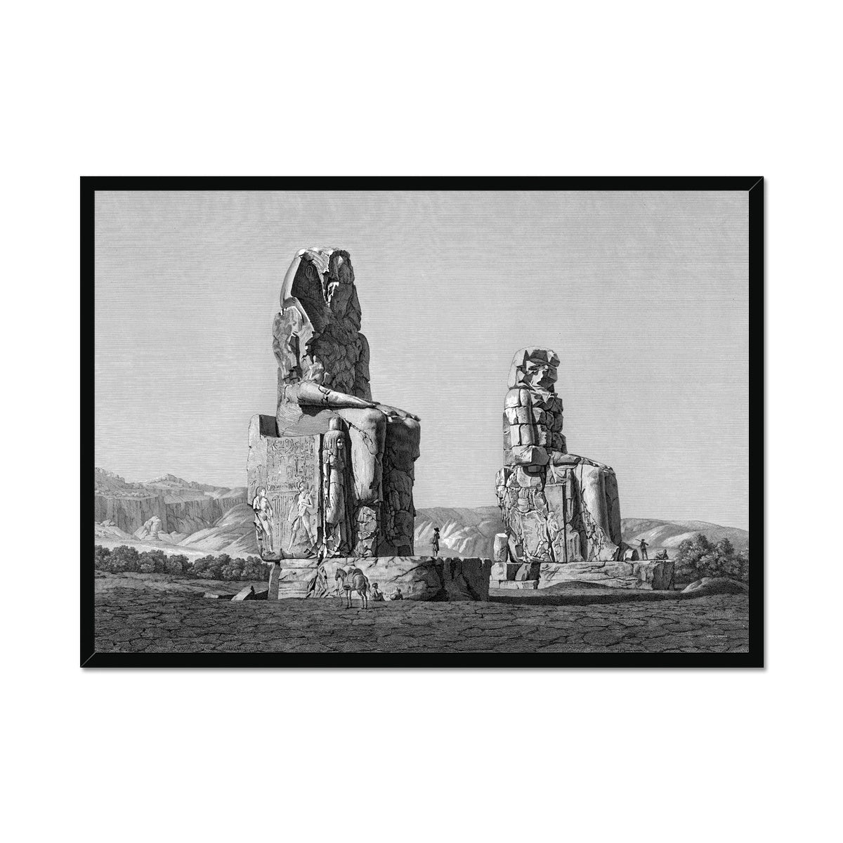 Colossi of Memnon View - Memnonium - Thebes Egypt -  Framed Print