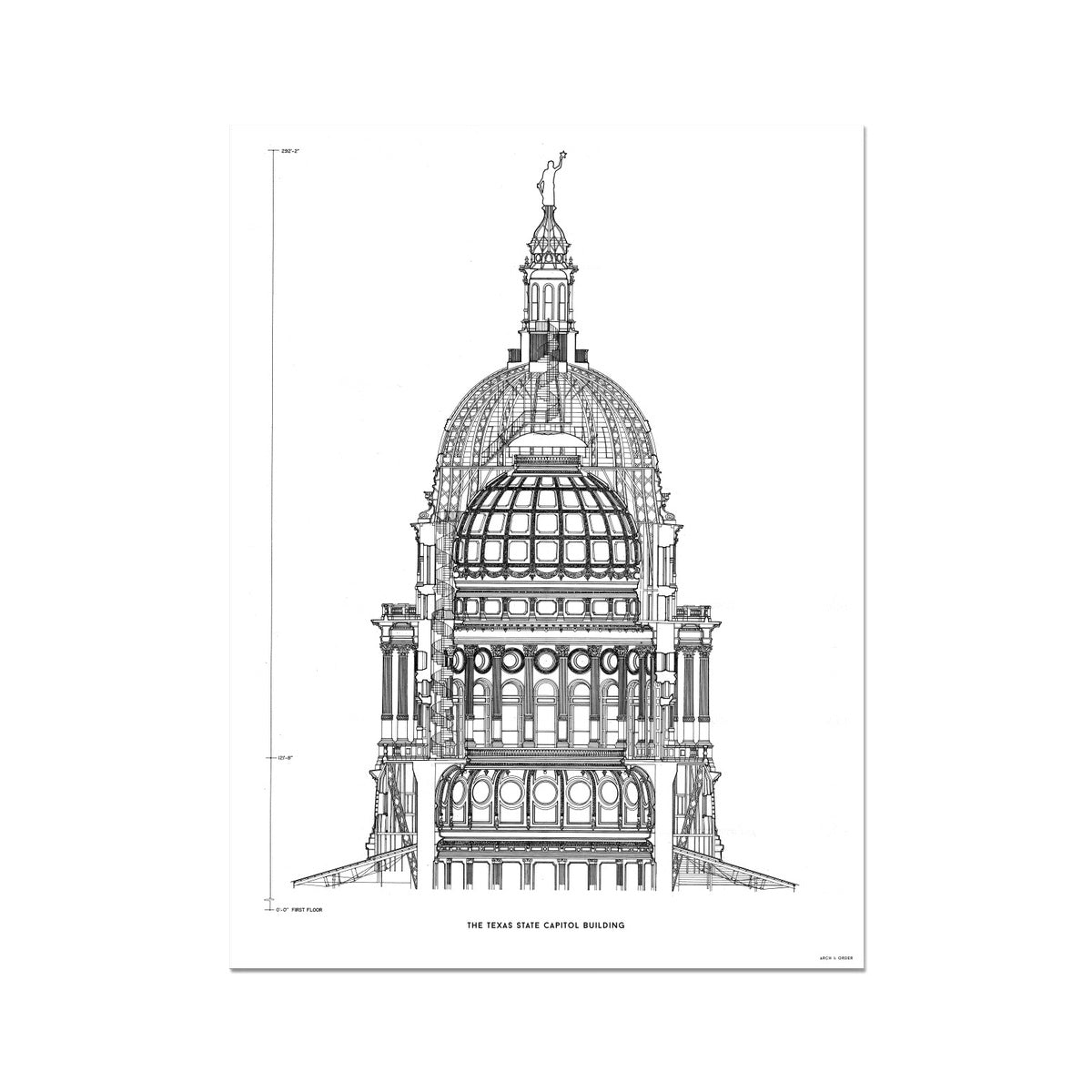 The Texas State Capitol Building - Dome Cross Section - White -  Etching Paper Print