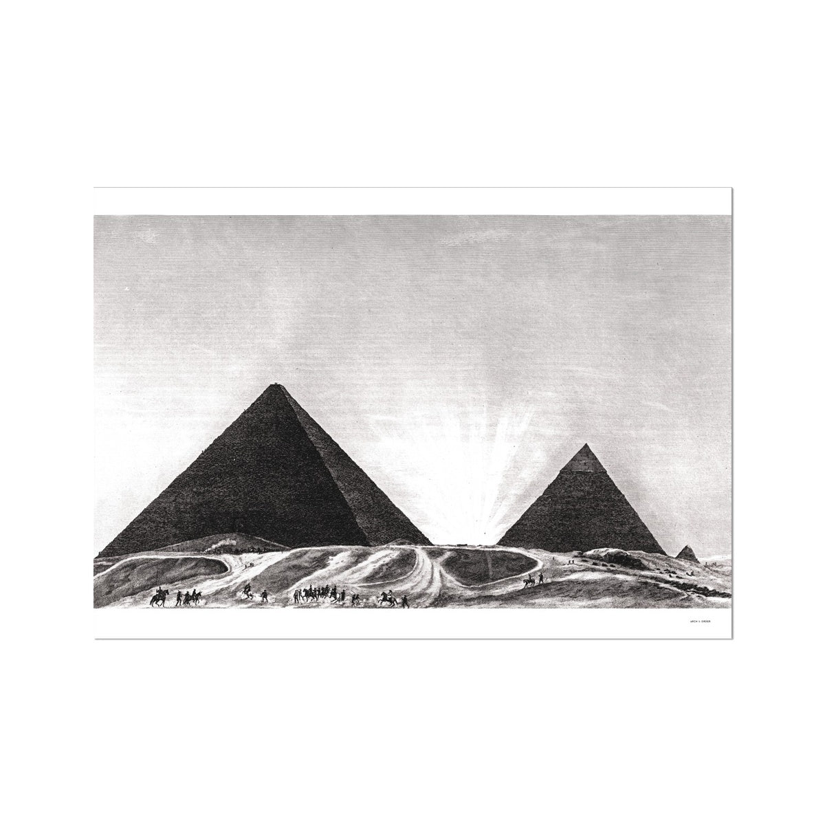 Entrance to the Grand Pyramid - Memphis Egypt -  Etching Paper Print