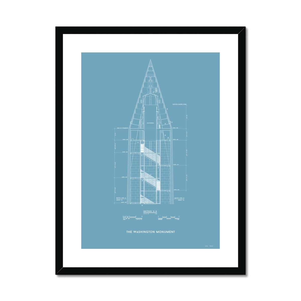 The Washington Monument Top Cross Section - Blue -  Framed & Mounted Print