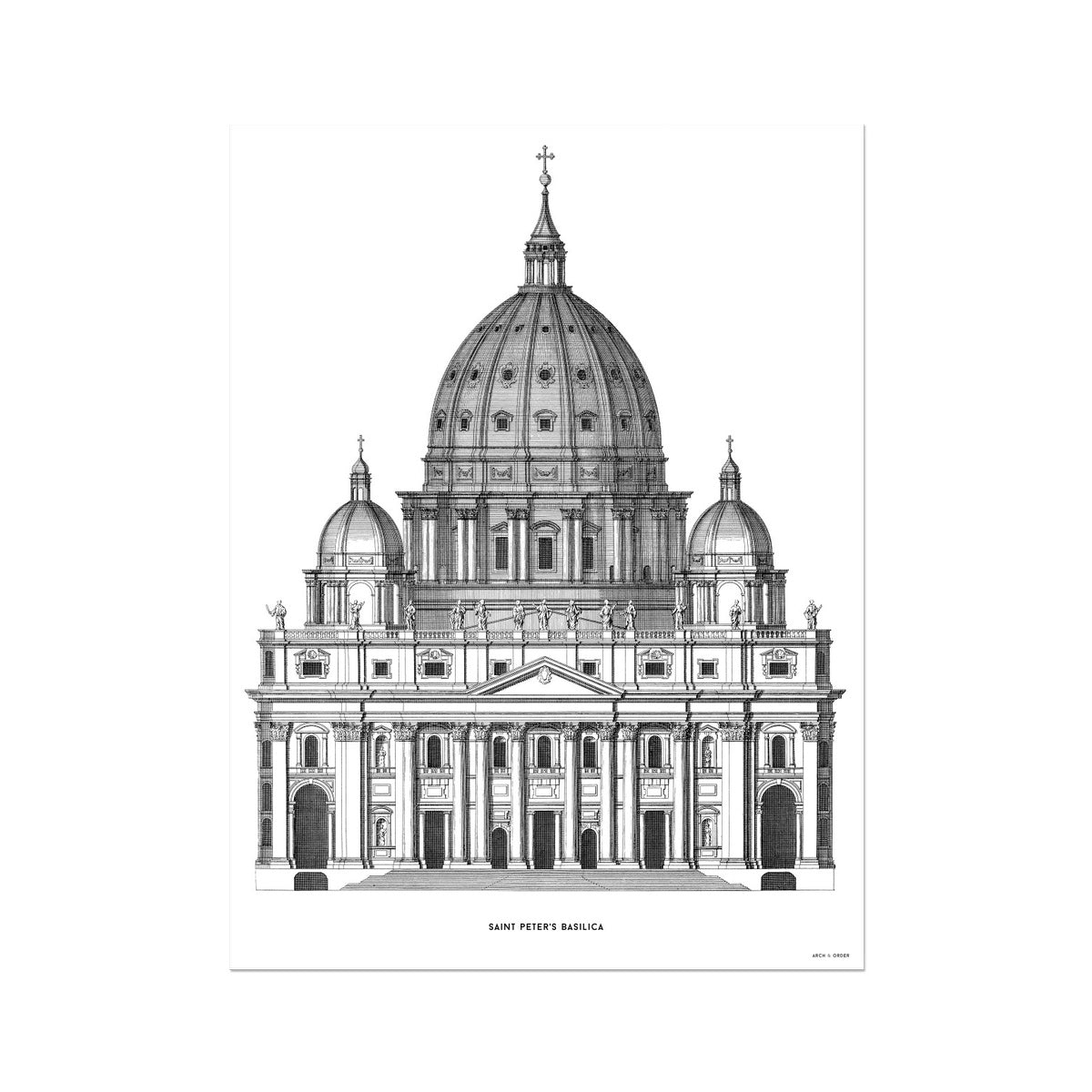 Saint Peter's Basilica - Primary Elevation - White -  Etching Paper Print