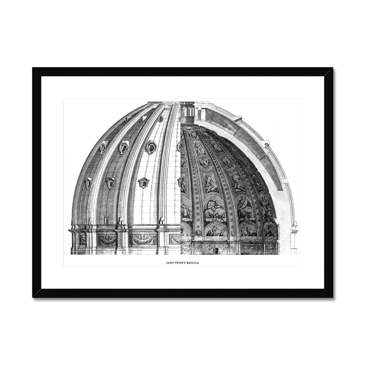 Saint Peter's Basilica - Dome Cross Section - White -  Framed & Mounted Print