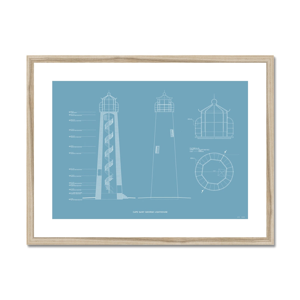 Cape Saint George Lighthouse - Southeast Elevation and Cross Section - Blue -  Framed & Mounted Print