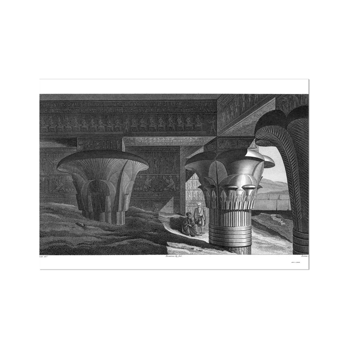 Temple of Horus Portico Interior - Edfu Egypt -  Etching Paper Print